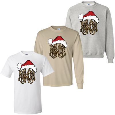 Monogrammed Leopard Santa Hat Shirt