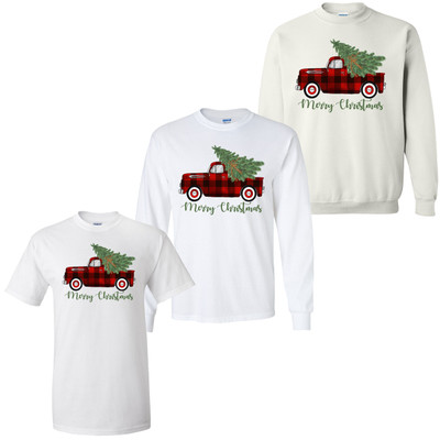 Merry Christmas Plaid Truck With Christmas Tree Graphic Tee