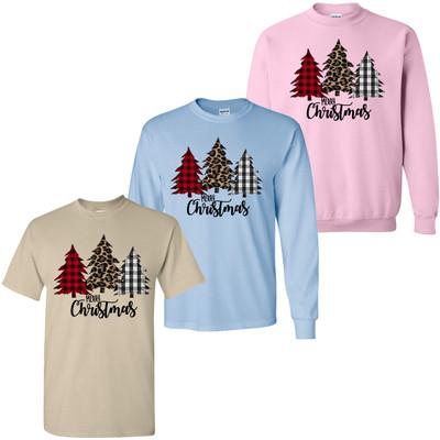 Leopard And Plaid Merry Christmas Tree Trio Shirt