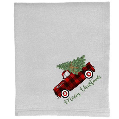 Sweatshirt Blanket - Ash - Merry Christmas Buffalo Plaid Truck With Tree