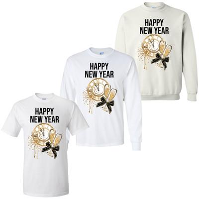 Happy New Year Clock Graphic Tee
