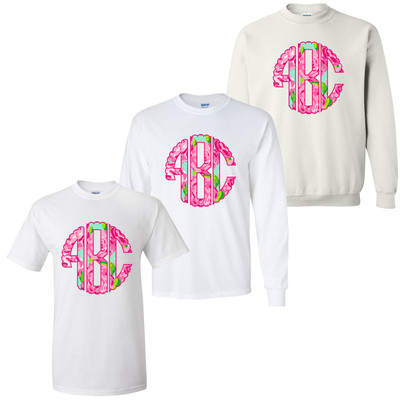 Monogrammed Scallop Lilly Preppy Rose Tee