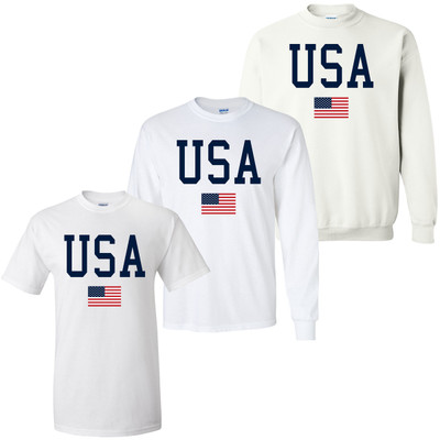 Red White and Blue USA Flag Graphic Tee