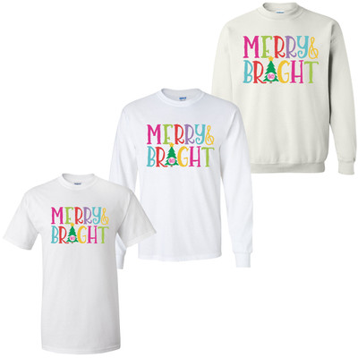 Personalized Merry And Bright Graphic T-Shirt