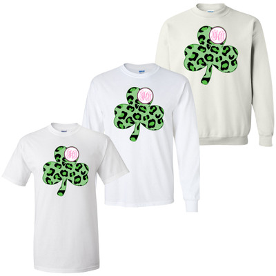 Personalized Leopard Shamrock Graphic Tee