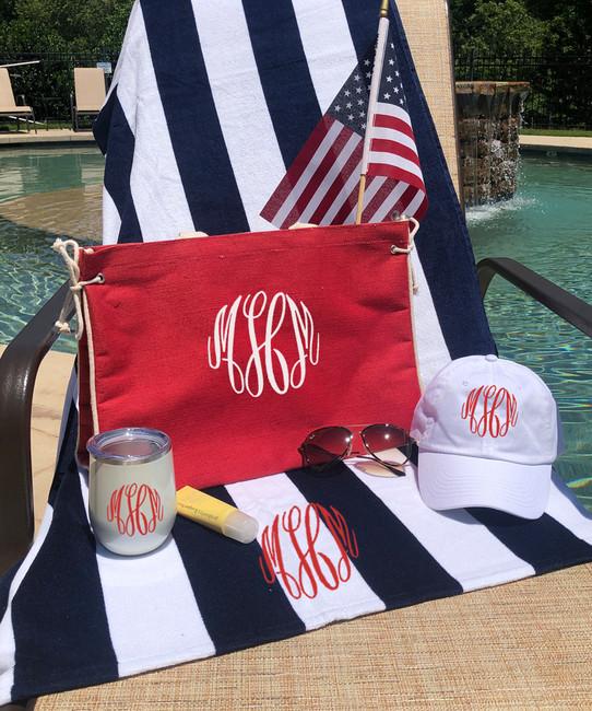 Monogrammed Stripe Beach Towel