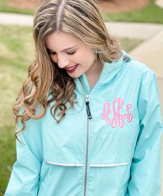 Ladies Monogrammed Charles River Rain Jacket