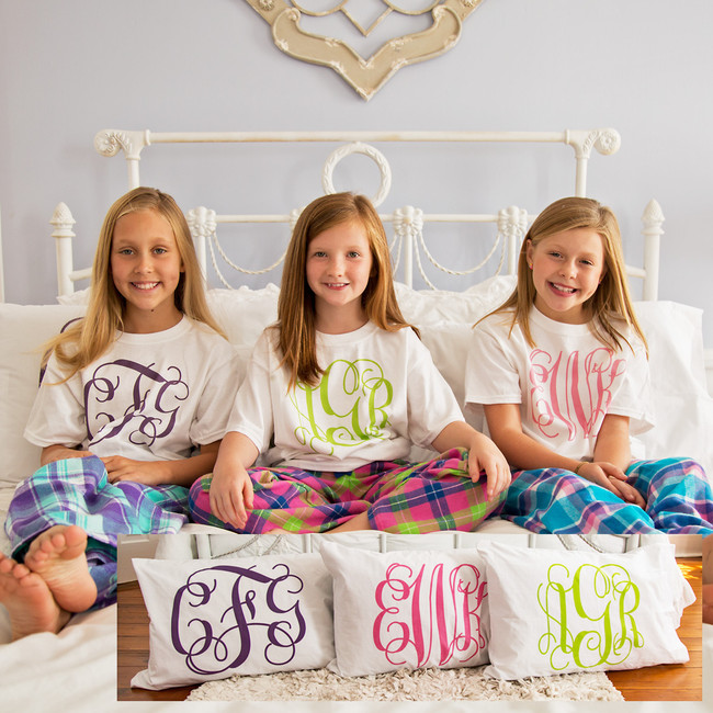 Personalized Pillowcase Vine Monogram - Choose Your Own Color