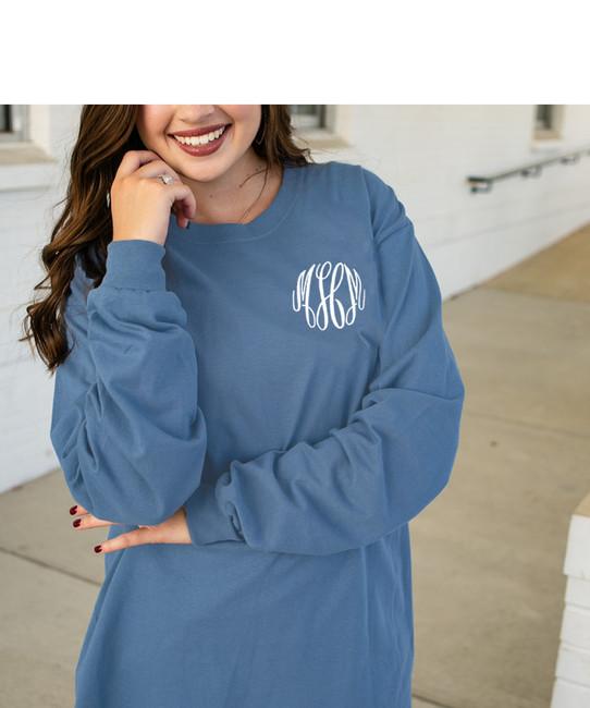 Monogrammed Comfort Colors Long Sleeve T-Shirt
