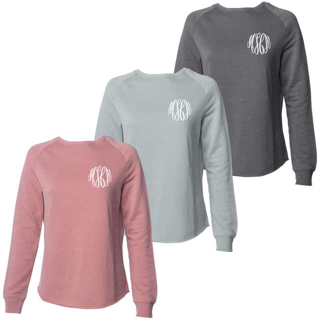 Monogrammed Ladies Washed Pullover Sweatshirt