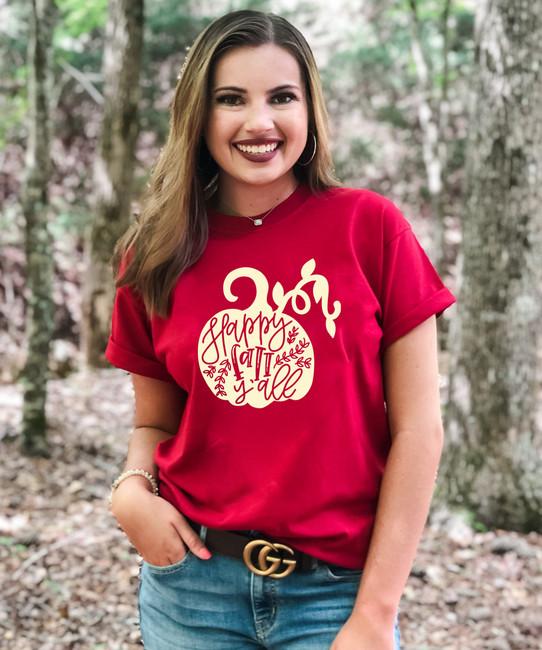 Happy Fall Yall Pumpkin Graphic T-Shirt