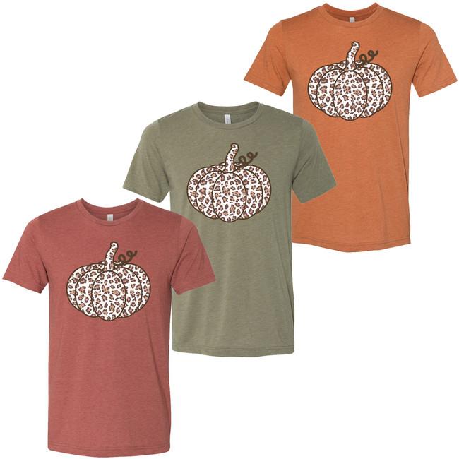 Leopard Pumpkin Bella Canvas Graphic Tee Shirt