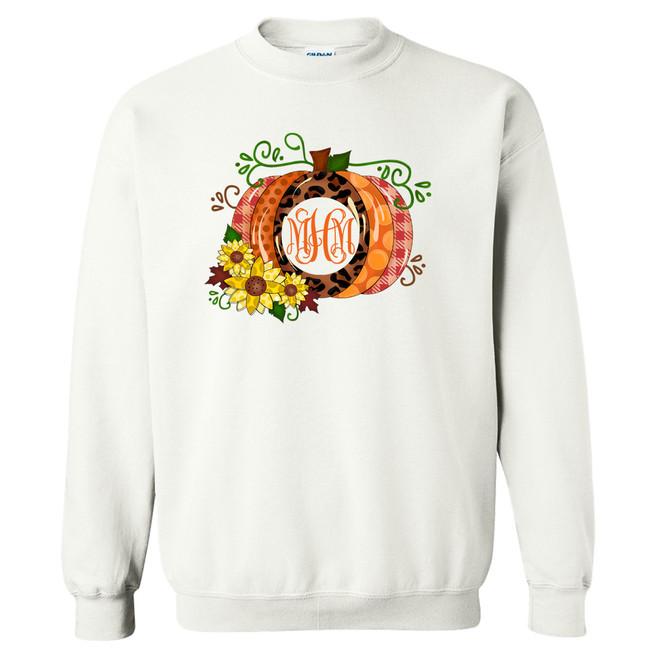 Monogrammed Leopard and Polka Dot Pumpkin Graphic T-Shirt