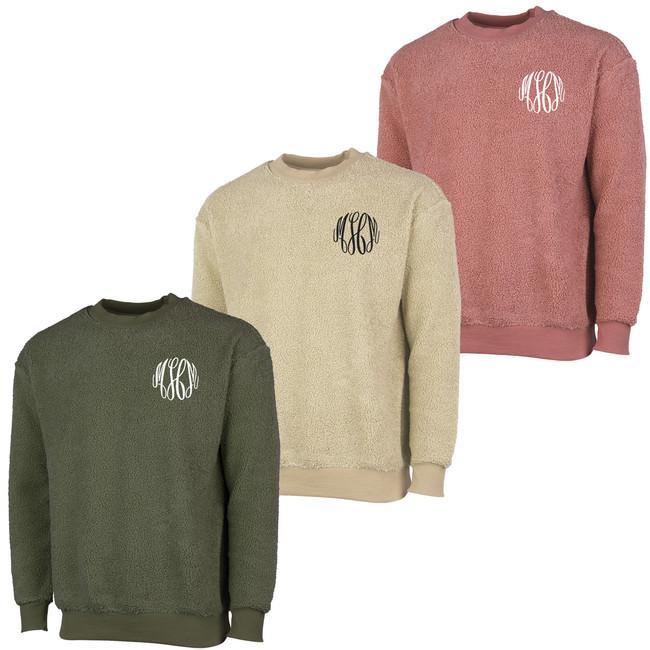 Monogrammed Sherpa Crewneck Sweatshirt