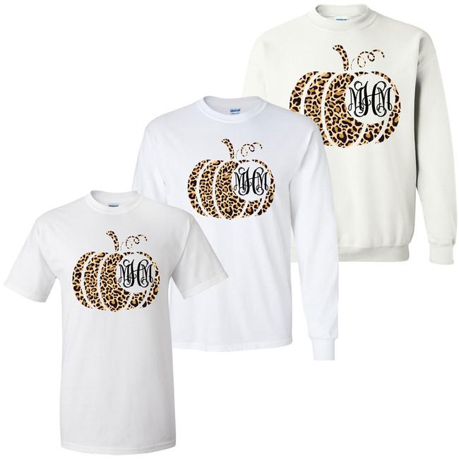 Monogrammed Leopard Pumpkin Graphic Tee Shirt