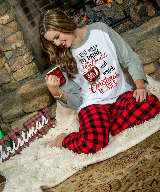 Monogrammed I Just Want To Drink Hot Chocolate And Watch Christmas Movies Loungewear Set