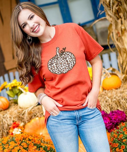 Leopard Pumpkin Graphic Tee Shirt