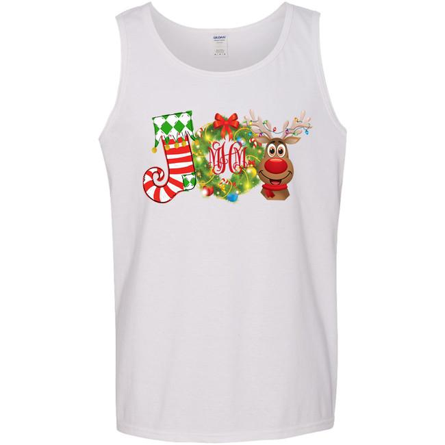 Monogrammed Joy Wreath Graphic Tee Shirt