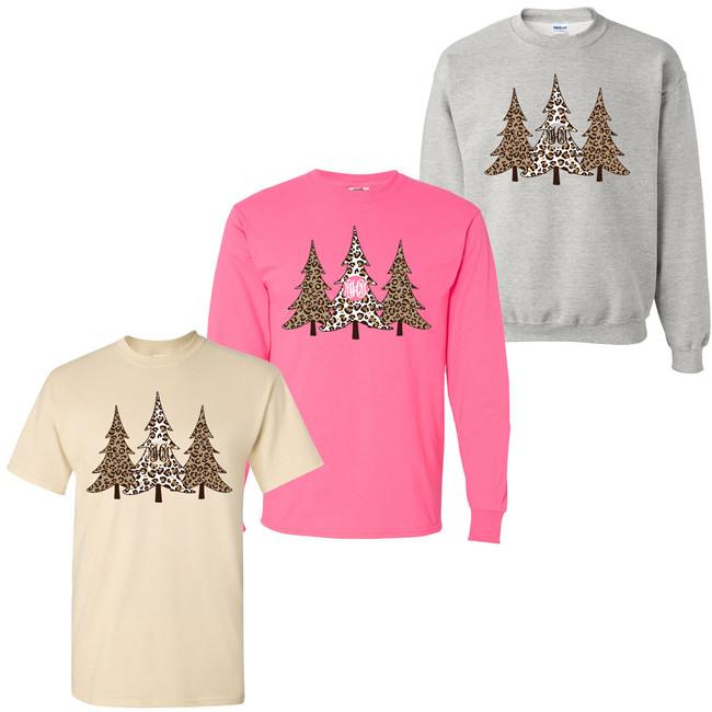 Monogrammed Leopard Christmas Trees T-Shirt