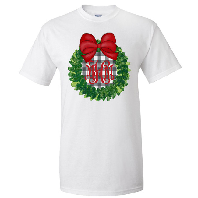 Monogrammed Plaid Christmas Wreath With Bow Graphic T-Shirt