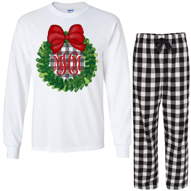 Monogrammed Plaid Christmas Wreath With Bow Lounge Set