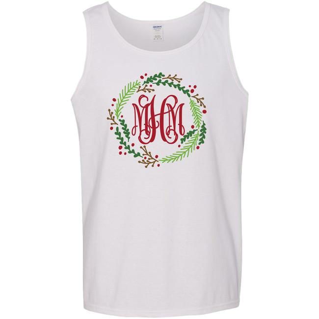 Monogrammed Christmas Wreath Graphic Shirt