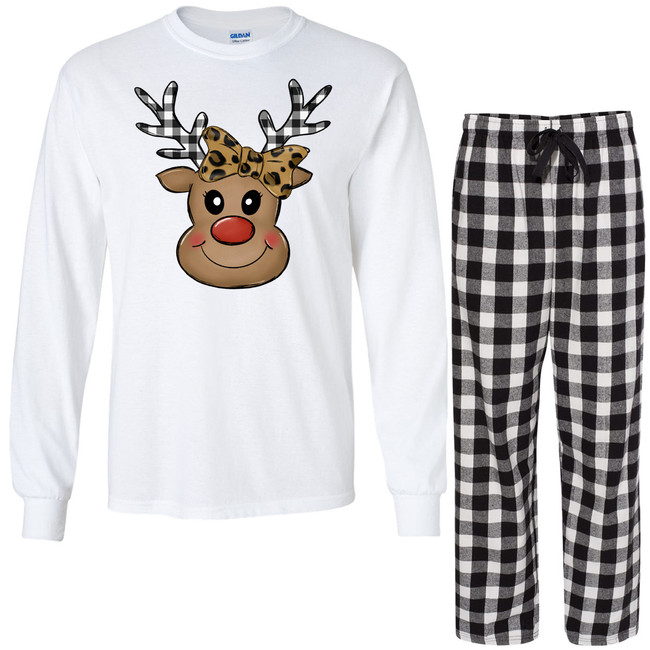 Leopard And Plaid Reindeer Face Lounge Set