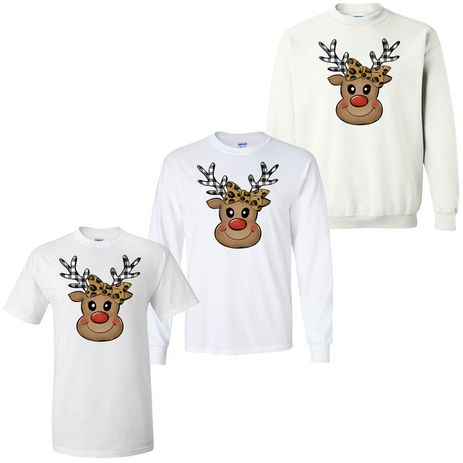 Leopard And Plaid Reindeer Face Graphic T-Shirt