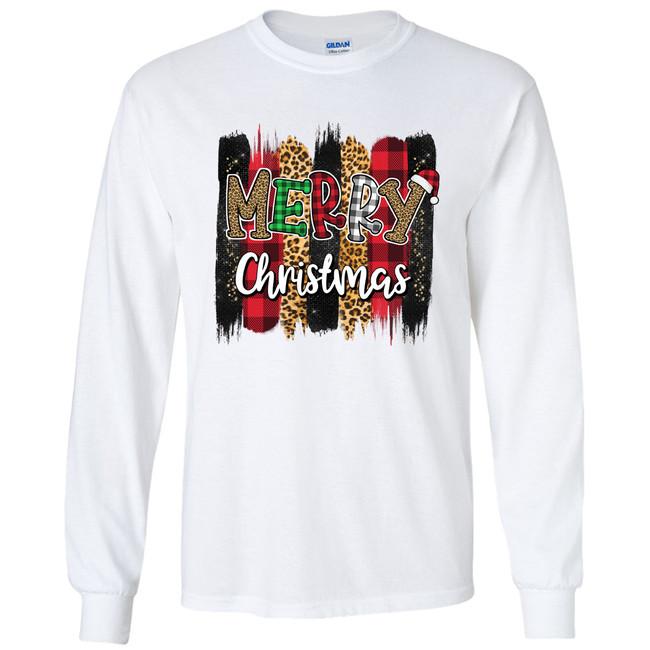 Merry Christmas Stripes Graphic Shirt