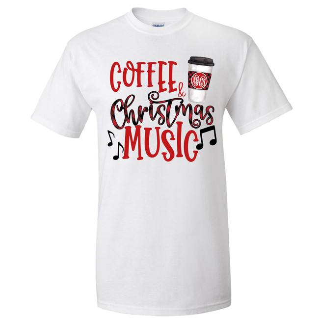 Monogrammed Coffee And Christmas Music Graphic Shirt