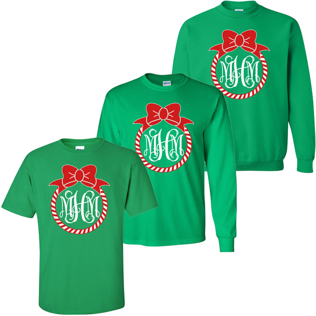 Monogrammed Peppermint Wreath With Bow T-Shirt
