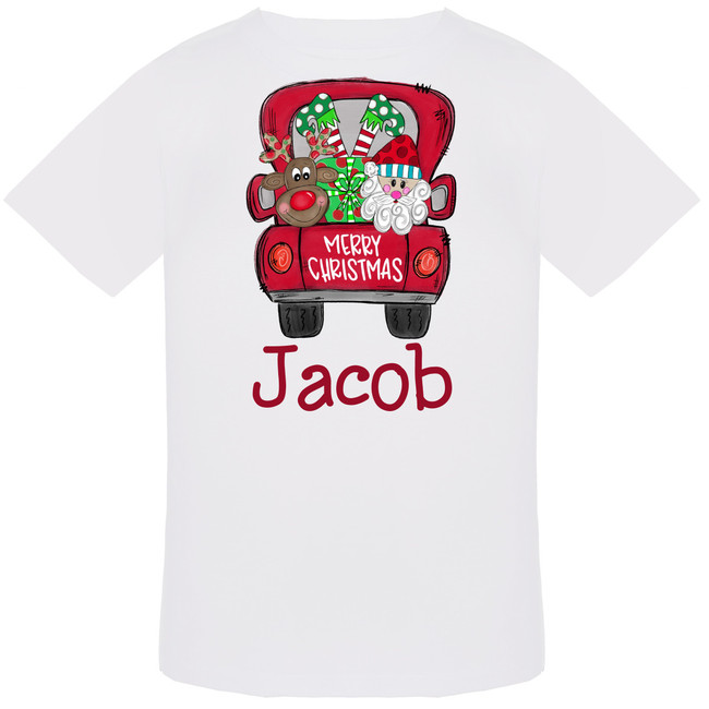 Personalized Merry Christmas Truck Graphic T-Shirt