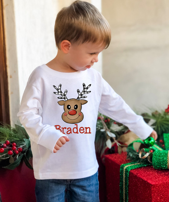 Personalized Plaid Antlers Reindeer Face Graphic T-Shirt