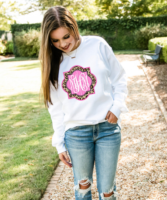 Monogrammed Leopard And Pink Frame Graphic Shirt