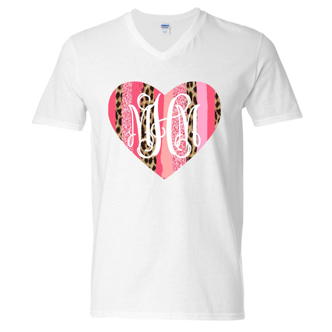 Monogrammed Valentines Day Leopard Brush Strokes Heart Graphic Tee