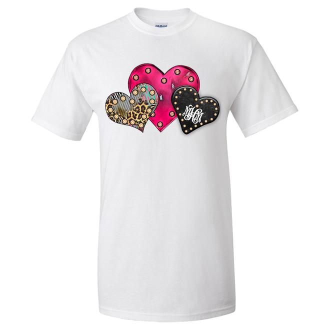 Monogrammed Heart Trio Graphic Tee