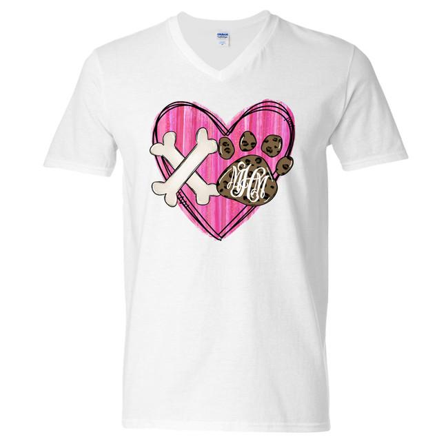 Monogrammed XO Paw Print Heart Graphic Tee