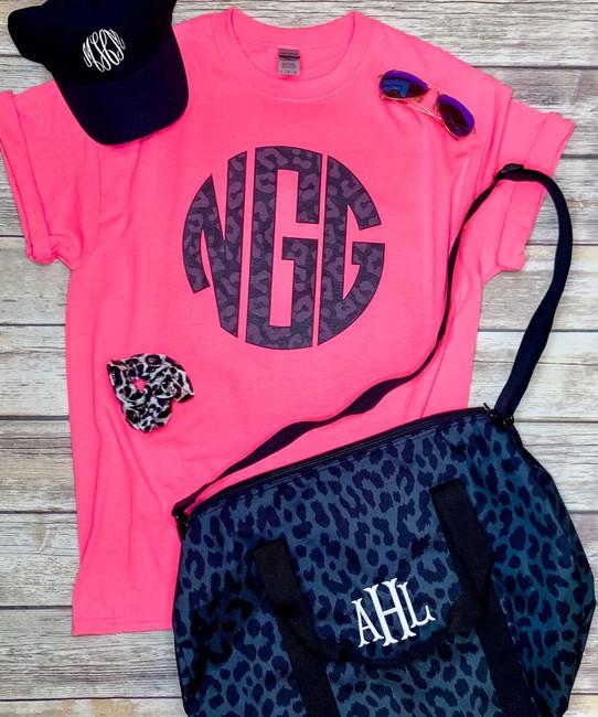 Monogrammed Black Onyx Leopard Shirt