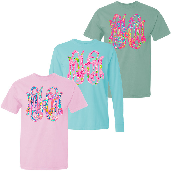 Lilly Monogram Comfort Colors T-Shirt - Choose Your Own Lilly Print