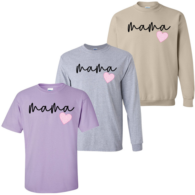 Pink Leopard Heart Mama Shirt