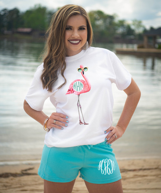 Personalized Flamingo With Sunglasses Graphic Tee