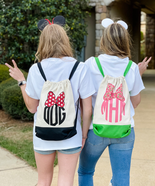 Monogrammed Mouse Bow Cinch Backpack