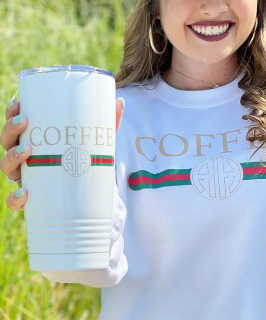 Monogrammed Designer Coffee Stainless Steel Tumbler