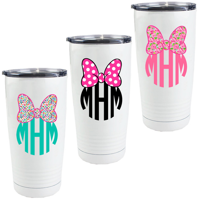 Monogrammed Mouse Bow Stainless Steel Tumbler