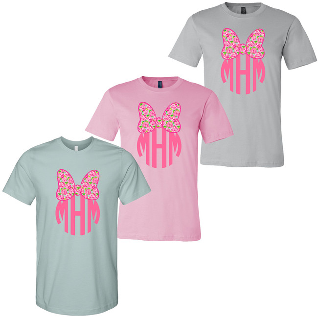 Monogrammed Lilly Mouse Bow Bella Canvas Tee