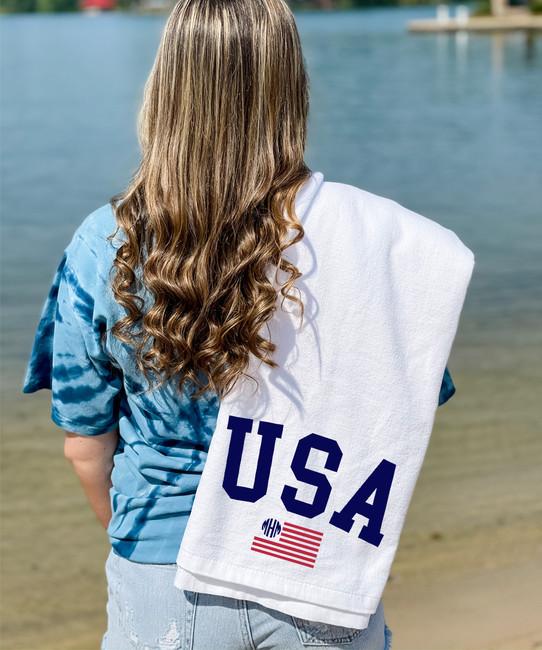 Monogrammed USA Flag Graphic Beach Towel