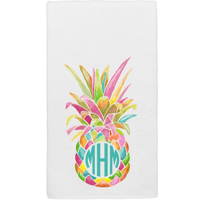 Monogrammed Rainbow Pineapple Graphic Beach Towel