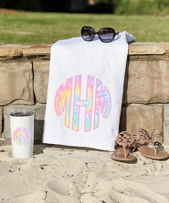 Monogrammed Pastel Tie Dye Graphic Beach Towel
