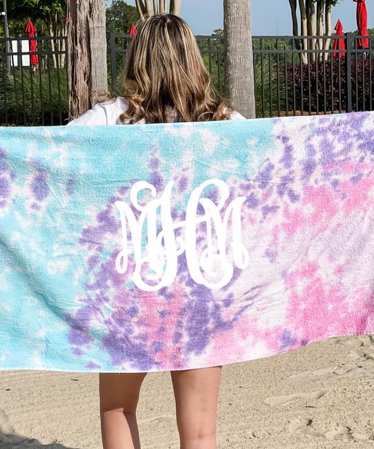 Full Monogrammed Tie Dye Beach Towel