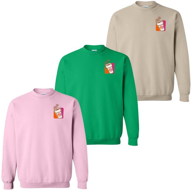 Monogrammed Embroidered Pink Coffee Cup Sweatshirt